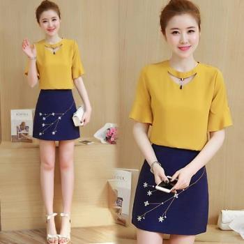 韓國KW 氣質淑女刺繡雪紡包臀短裙套裝