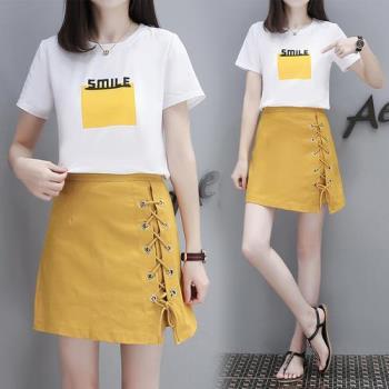 韓國KW 隨性時尚A字短裙套裝