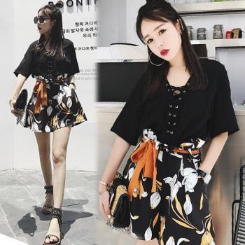 韓國KW 韓版優雅印花高腰系帶短褲套裝