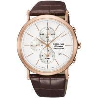SEIKO 精工Premier 完美特務 三眼計時腕錶(銀x咖啡/41mm) 7T62-0LK0J SNAF82J1