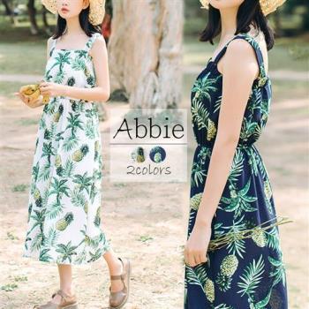 【Abbie】波西米亞印花雪紡長洋裝