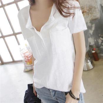 BubbleCoCo 竹節棉雙口袋短袖T恤(黑/白)