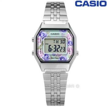 CASIO / LA680WA-2C / 卡西歐 滿版浪漫玫瑰 計時碼錶 LED照明 鬧鈴 電子數位 不鏽鋼手錶 銀色 29mm