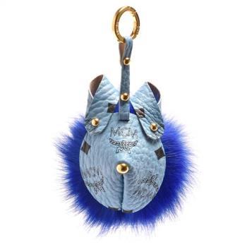 MCM 動物臉譜造型塗層帆布狐狸毛球鑰匙圈/吊飾(藍)