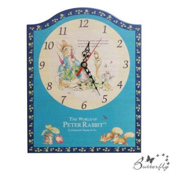 原廠授權比得兔Peter Rabbit彼得兔古典原木掛鐘-吃蘿蔔藍莓壁/座鐘