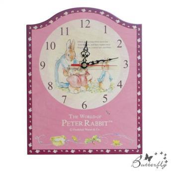 原廠授權比得兔Peter Rabbit彼得兔古典原木掛鐘-兔媽媽玫瑰壁/座鐘
