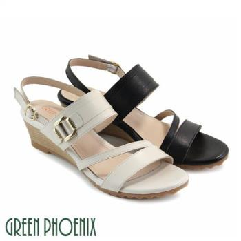GREEN PHOENIX 寬細版帶金屬幾何圖形繞踝全真皮楔型涼鞋U57-2N766