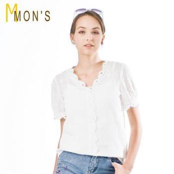 MONS法式名品蕾絲100%棉質上衣