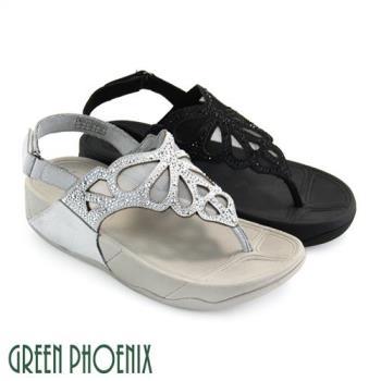 GREEN PHOENIX 蝴蝶壓克力水鑽透視紗網魔鬼氈平底夾腳涼鞋U35-20Y09
