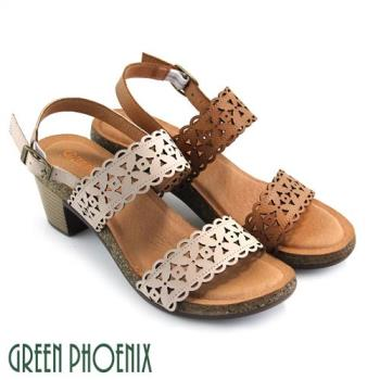 GREEN PHOENIX 寬版帶雷射雕花紋仿舊扣環全真皮粗高跟涼鞋U31-27379