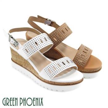 GREEN PHOENIX 寬版帶金屬釘扣鏤空扣環全真皮楔型涼鞋U21-28034