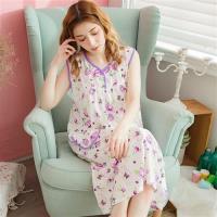 lingling日系 花朵牛奶絲連身裙睡衣(大尺碼)