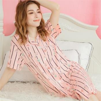 lingling日系 條紋襯衫式連身裙睡衣(全尺碼)
