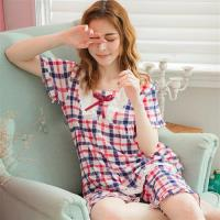 lingling日系 方格牛奶絲蕾絲二件式睡衣組(全尺碼,共2色)