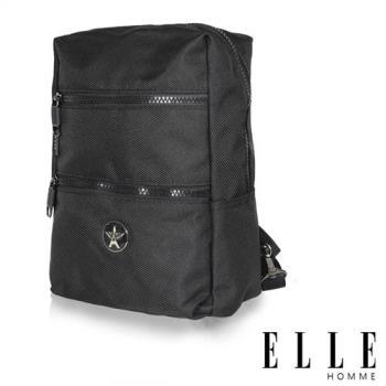 【ELLE HOMME】巴黎風輕旅商務休閒多功能單肩後背包-黑 EL83489