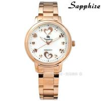 SE Sapphire / SE032L04WRR / 浪漫愛心 晶鑽刻度 藍寶石水晶玻璃 不鏽鋼手錶 白x鍍玫瑰金 31mm