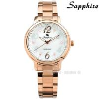 SE Sapphire / SE032L02WR / 花朵綻放 晶鑽刻度 藍寶石水晶玻璃 不鏽鋼手錶 白x鍍玫瑰金 31mm