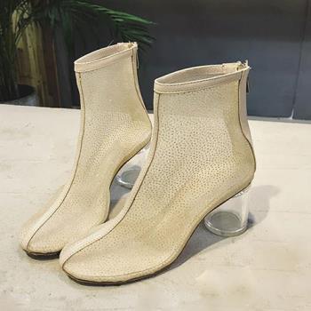 【Alice 】 (預購) 網紗透明粗跟鞋