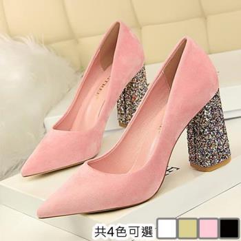 【Alice 】 (預購) 花嫁派對閃亮粗跟鞋