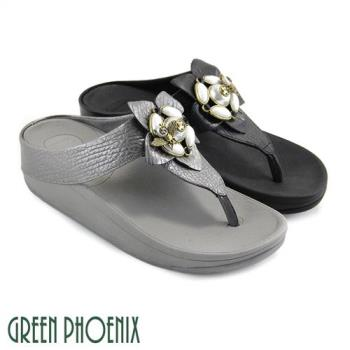 GREEN PHOENIX 仿舊立體蜜蜂壓克力珠寶花朵全真皮平底夾腳拖鞋U35-20Y10