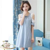 Jimmy  Wang  大碼藍色繫帶蕾絲邊露肩優雅洋裝