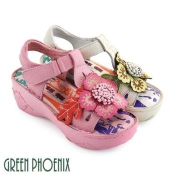 GREEN PHOENIX 花朵枝葉圖騰手縫全真皮魔鬼氈厚底氣墊涼鞋U51-20091
