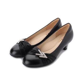LUZZI 真皮雙V鑽中跟鞋 黑 女鞋 鞋全家福