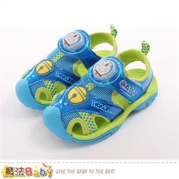 魔法Baby 男童鞋 哆啦A夢授權正版護趾閃燈運動涼鞋~sa80716