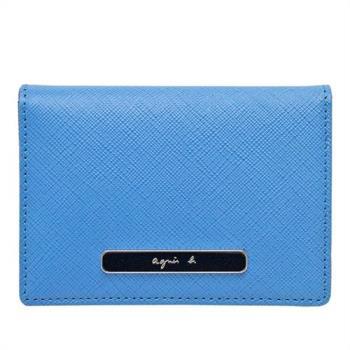 【agnes b.】橢圓LOGO 撞色防刮皮革証件夾(藍+靛藍)