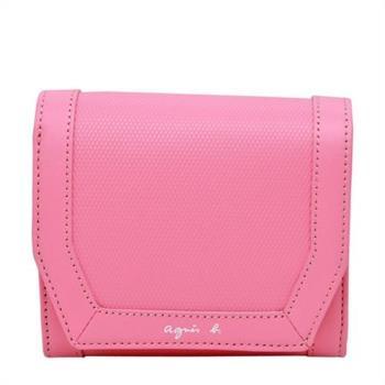 【agnes b.】草寫logo 斜紋防刮皮革短夾(粉色)