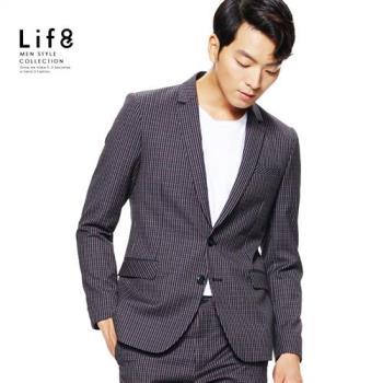 Life8-Formal 雙色織紋細格 修身西裝外套