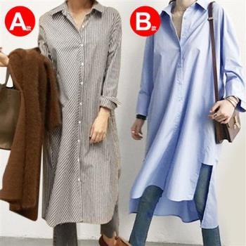 KCS嚴選 韓版寬鬆長袖條紋純色不規則中長款襯衫裙 (A-B-C-D四款)-,