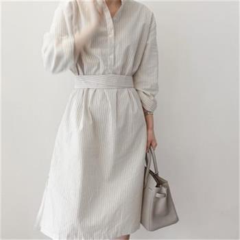 KCS嚴選  韓版顯瘦長袖條紋襯衫/洋裝任意變換