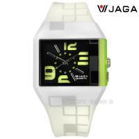 JAGA 捷卡 / AQ972-DF / 方型大數字刻度 冷光照明 運動 橡膠手錶 黑黃綠x米白 43mm