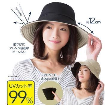 日本sunfamily 抗UV可折邊兩面防曬帽(黑/米 )