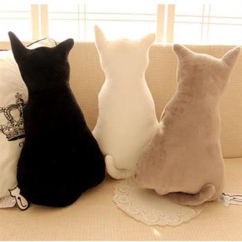 !!兩隻以上請宅配!!背影貓咪抱枕 療癒系喵星人 貓咪造型絨毛玩偶 靠墊 45cm 黑貓