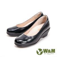 W&M經典小圓頭楔型高跟鞋 女鞋-黑