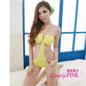 CosmoPINK粉紅教主SBU0007閃耀黃色側身挖空連身式泳裝