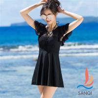 SANQI三奇 清新魅力 中大尺碼一件式連身泳裝(黑L~3L) SQ17057