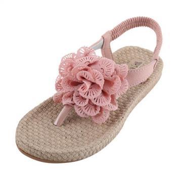 88%平底夾腳涼鞋夏日大花朵編織風2cm跟高