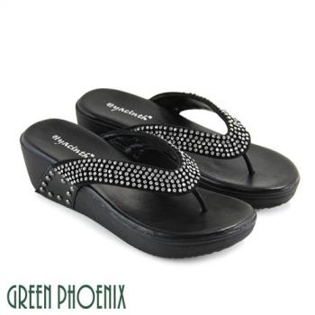 GREEN PHOENIX 閃耀奪目壓克力水鑽全真皮輕量夾腳拖鞋U29-22235