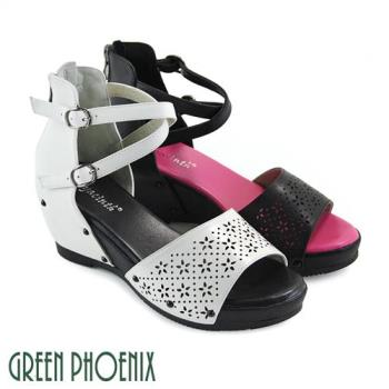GREEN PHOENIX 雙彩撞色交叉雷射雕花全真皮楔型涼鞋U29-26821