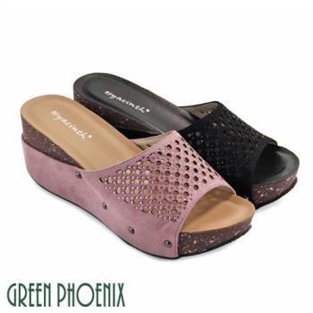 GREEN PHOENIX 雷射孔洞壓克力水鑽牛麂皮厚底拖鞋U29-29036