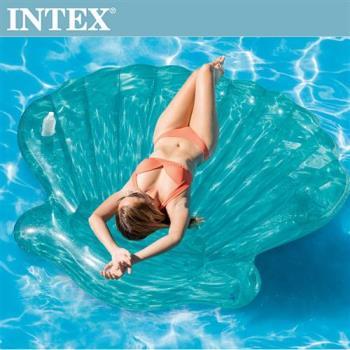 INTEX美人魚貝殼浮排-杯架設計(191*191*25cm)適用:成人(57255)