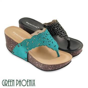 GREEN PHOENIX 壓克力水鑽鏤空花邊剪裁全真皮楔型夾腳拖鞋U29-29035
