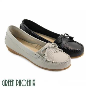 GREEN PHOENIX 大尺碼-蝴蝶結流蘇全真皮莫卡辛平底鞋U77-21011