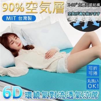 BELLE VIE 台灣製 6D環繞氣對流透氣涼席 床墊/涼墊/和室墊/客廳墊/露營可用 單人(90x186cm)