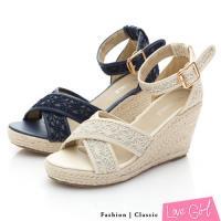 Love Girl 唯美質感交叉蕾絲環踝楔型涼鞋