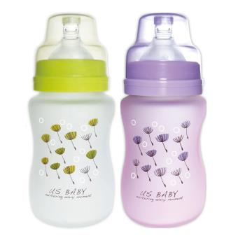 優生 真母感特護玻璃奶瓶 寬口徑240ml- (1+1特惠組-綠+紫各1支)