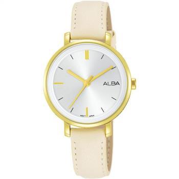 ALBA 雅柏 俏麗大三針皮帶女錶(金x白/30mm) VJ21-X125W AH8488X1